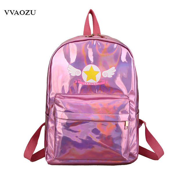 Anime Card Captor Sakura Laser Shoulder School Bag Backpack Daypacks Cardcaptor  Sakura Cosplay Lolita Girls Knapsack 12a7462b1ce10