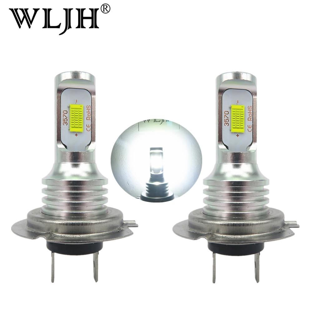 WLJH 2x Canbus Error Free Led H7 Luz de niebla bombilla Auto Motor de coche camión luz diurna H7 bombillas LED 12 V 24 V para automóviles