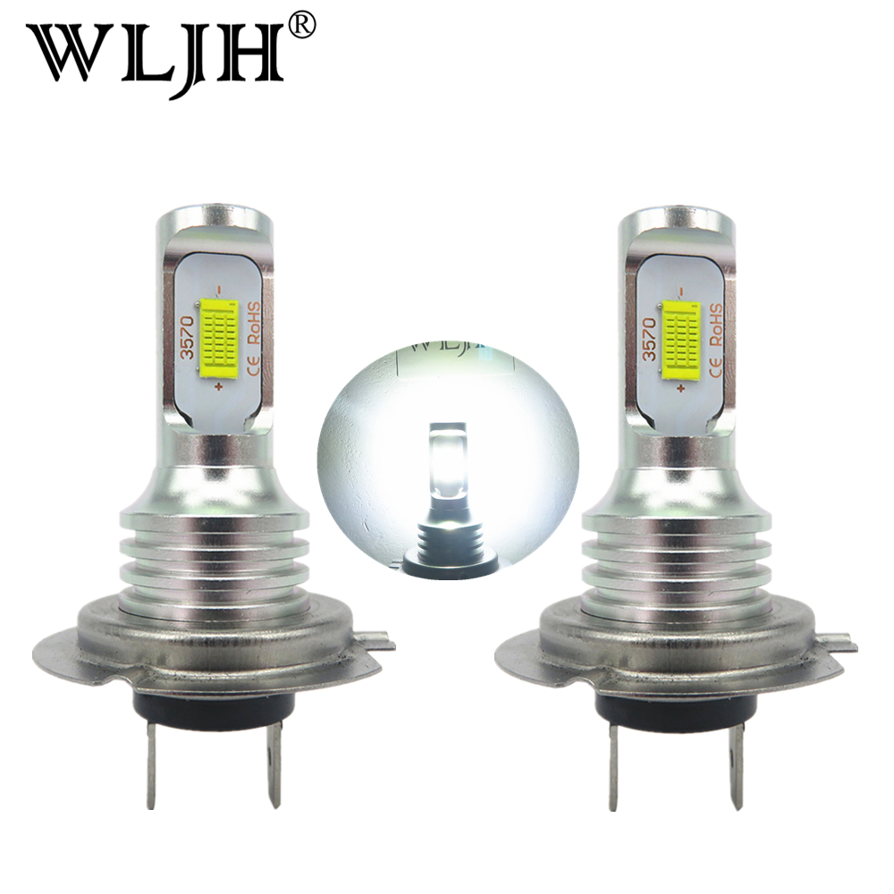 WLJH 2x Canbus Sans Erreur Led H7 Brouillard Ampoule Auto Voiture Moteur Camion Conduisant la Journée Running Light H7 LED ampoules 12 v 24 v pour Voitures