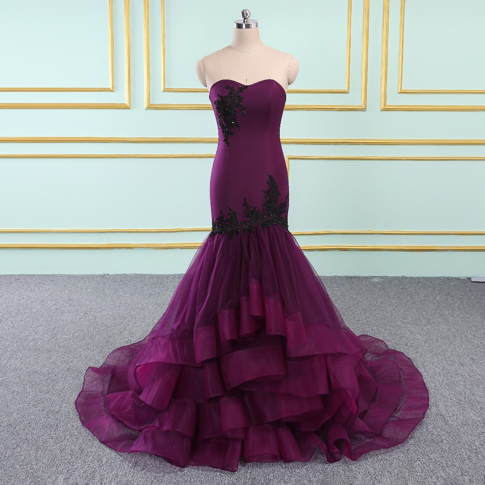 High Quality Sweetheart Mermaid Evening   Dress   Mermaid   Dress   Long Elegant   Prom     Dresses   Robe De Soiree purple Tulle   Prom     Dress