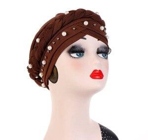 Image 3 - Muslim Women Cross Silk Braid White Pearl Turban Hat Scarf Cancer Chemo Beanie Cap Hijab Headwear Head Wrap Hair Accessories