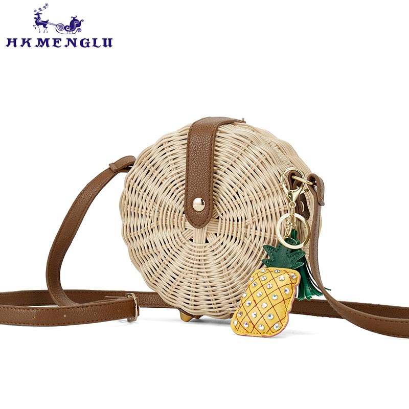 2018 Women Straw Bag Bohemian Bali Round Straw Rattan Bag Wicker Circle Beach Handbag Handmade Kintted Shoulder Bags bolso bambu цена