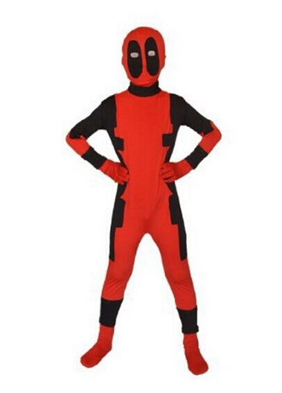 (KC961) 2015 enfants Deadpool Spiderman super-héros Zentai enfants garçon Cosplay super-héros motif Zentai Halloween Costume