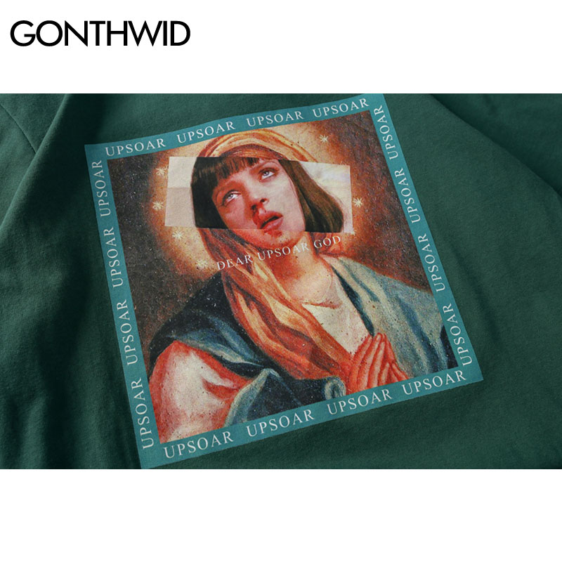 Gonthwid Virgin Mary Men's T-shirts Funny Printed Short Sleeve Tshirts Summer Hip Hop Casual Cotton Tops Tees Streetwear #5