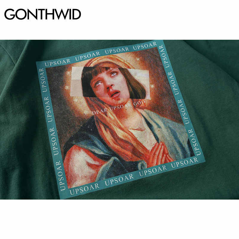 GONTHWID Virgin Mary mannen T-Shirts 2019 Grappige Gedrukte Korte Mouwen T-shirts Zomer Hip Hop Casual Katoen Tops Tees Streetwear