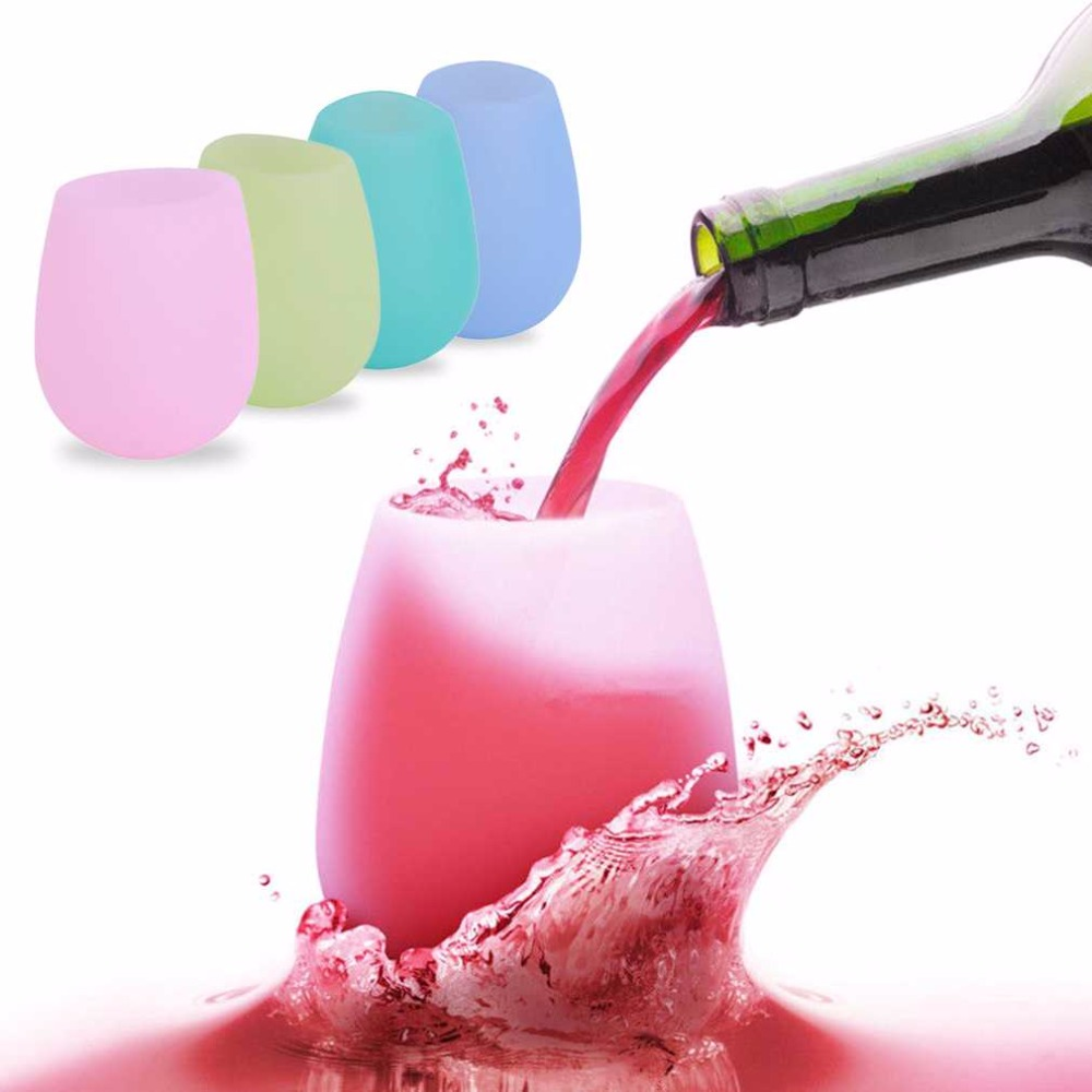 Hey, Living Store Outdoor BBQ Silicone Wine Glasses Foldable Unbreakable Silicone Beer Whiskey Glass Drinkware For Picnic use