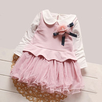 IAiRAY Brand Baby Girl Pink Long Sleeve Dress Children Clothes Flower Decoration Infant Party Dress Peter