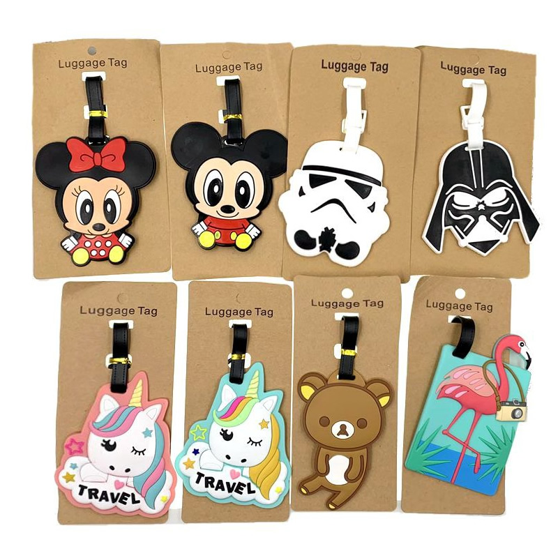 Travel Accessories Cartoon Star Wars Minnie Luggage Tags Suitcase ID Addres Holder Silica Gel Baggage Boarding Portable Label
