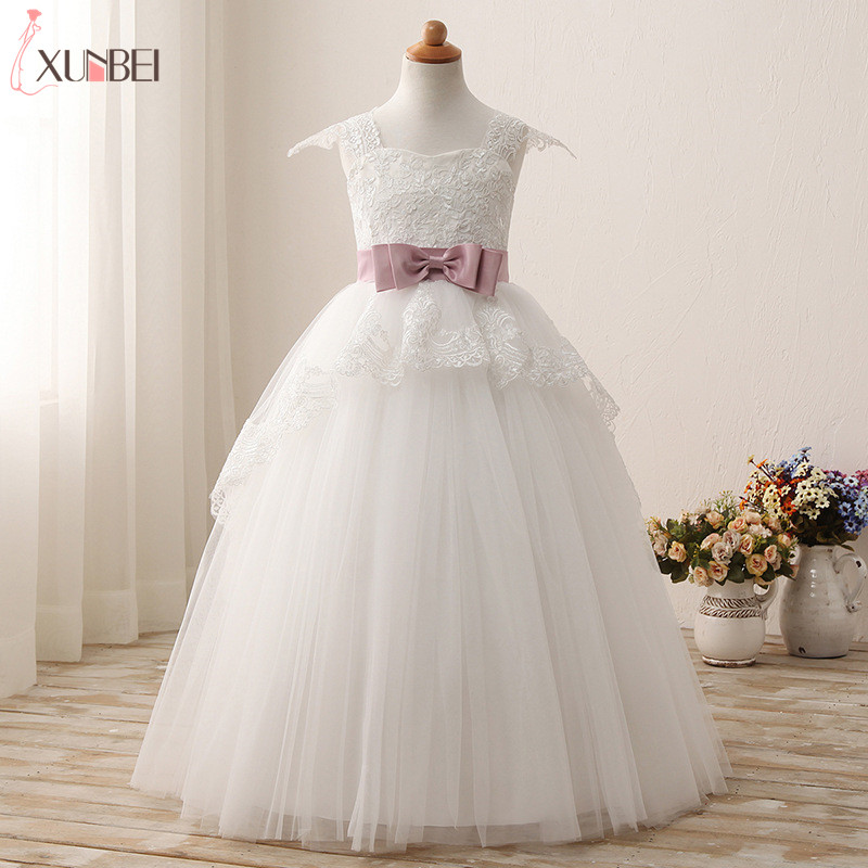 Lovely   Flower     Girl     Dresses   With Sash Lace 2019 Appliqued White Beige Pageant   Dresses   For   Girls   Lace Communion Princess   Dress