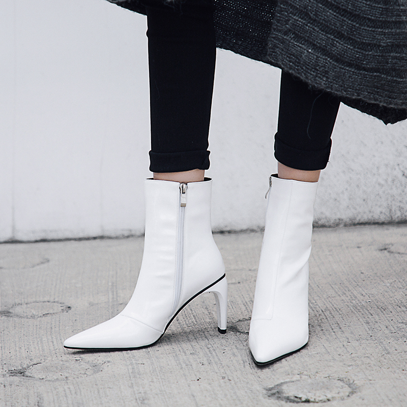 Karinluna brand new dropship patent leather plus size 43 Pointed Toe Ankle Boots Women Shoes runway