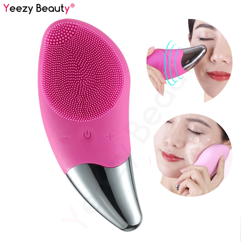 Ultrasonic Electric Silicone Facial Cleansing Brush Massager Anion Imported Vibration Massage Wrinkle Blackhead Remove Face Care