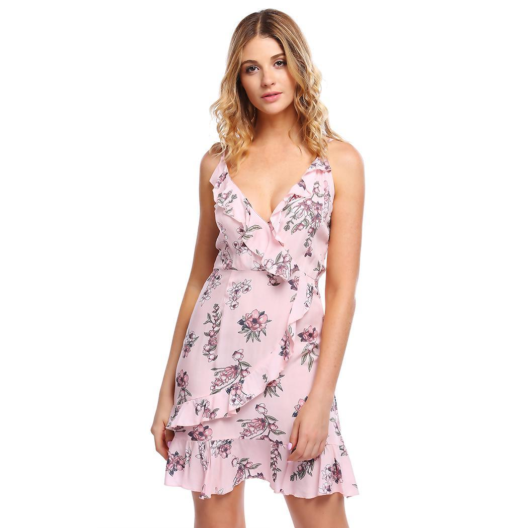 AL'OFA Women Mini Floral   Cocktail     Dresses   Strap Sleeveless V-neck Ruffles A-line Homecoming   Dress   Sexy Party Proms Formal   Dress
