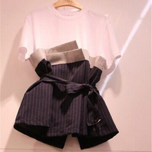 40b631d3014d23 2018 Summer New Korean Style Vogue Bow Lacing Striped T-shirts Women Fake  Two Piece