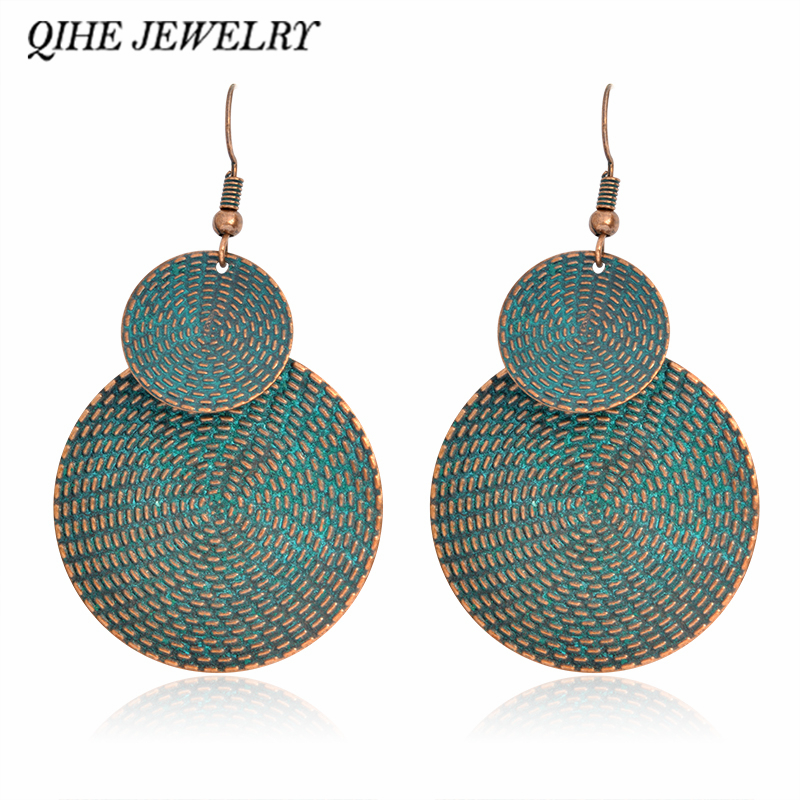 QIHE JEWELRY Dangle earrings Ancient blue rustic double round pendant earrings Women statement earrings Boho chic