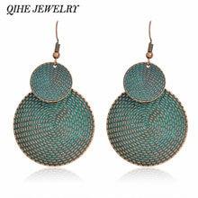 Qihe ювелирные изделия серьги на крючках древних синий деревенский