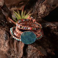 Latest 2018 - 5X Leather Wrap Beaded Bracelet Huge OceanStone Bracelet, Boho Chic Jewelry, Bohemian Bracelet Valentine's Gift! 1