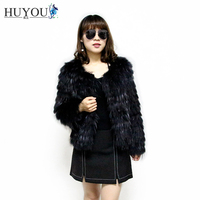 Women's Real Fur Coat From High Quality Natural Raccoon Fur 100% Real Raccoon Fur Jacket Of Fur Strip Sewed Toghter For Women