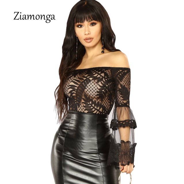Ziamonga 2018 Women Summer Jumpsuit Sexy Off Shoulder Flare Sleeve Women Bodysuit Lace Patchwork Bodycon Rompers Womens Jumpsuit