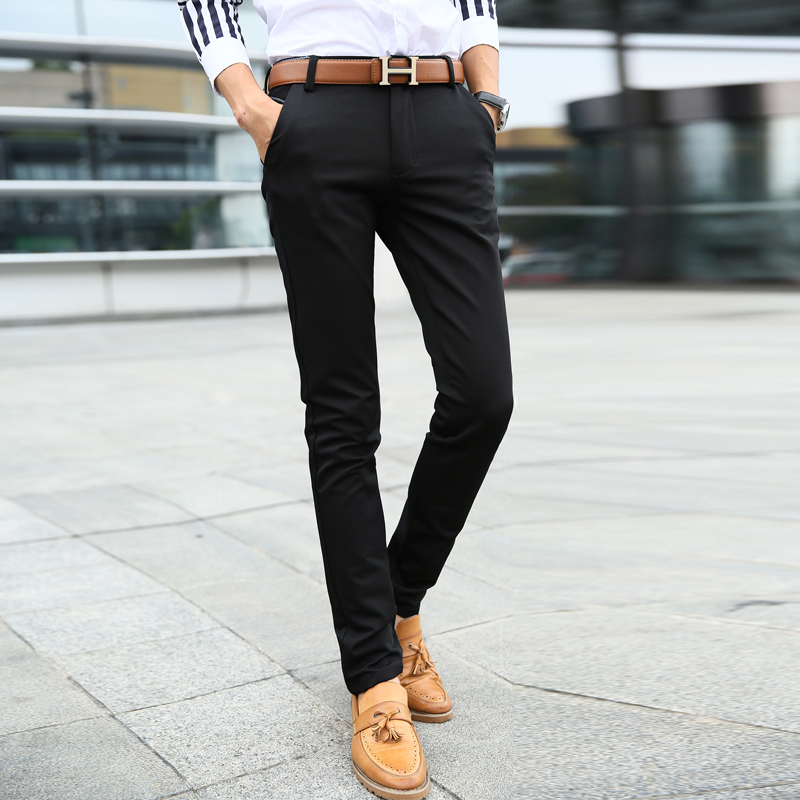 2018 New Youth Spring Summer Casual Skinny Men Pants Slim Straight Stretch Trousers Male Classic Business Casual Pants work suit