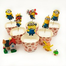 24pcs/set Minions Cupcake Cake Topper For Family Birthday Party Baking Decoration Happy Flags Stick Supplies favor