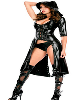 free shipping 2 pcs Womens Faux Leather Halloween Fancy Dress Catwoman Costume Catsuit halloween Cosplay costume dress+panty