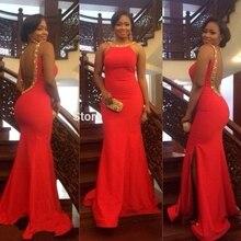 2016 Sexy Meerjungfrau Backless Scoop Red Prom Kleid mit Perlen Lange Satin Abendkleid Benutzerdefinierte Vestido De Festa Gala jurken