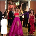 Two Piece Sexy Celebrity Dresses Strapless Multi Color Prom Party Dress High Split Crop Top Red Carpet Dress