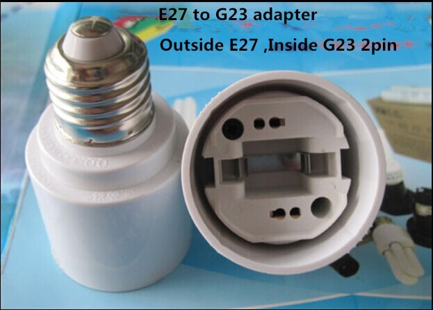 1pcs Free Shipping E27 to <font><b>G23</b></font> Adapter Converter Base holder <font><b>socket</b></font> <font><b>G23</b></font> to E27 for LED Light Lamp Bulbs image