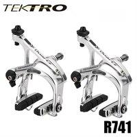 Tektro Super ligero Taiwán 300 g/par R741 pinza de freno de aluminio bicicleta de carretera C abrazadera de freno mecanismo de liberación rápida para Shiman0 105