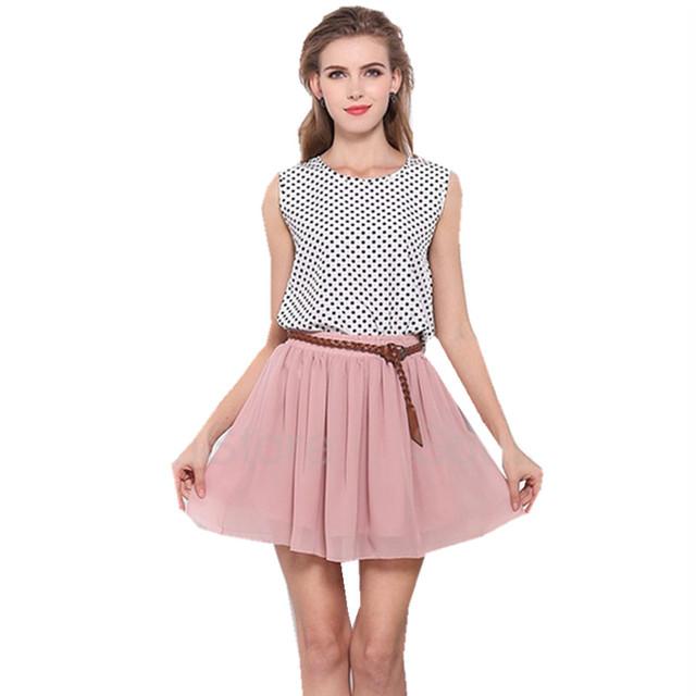 Venta caliente 2017 Nueva Moda Hight Cintura Elástica Falda Corta la novedad de la Gasa de La Capa Doble vestido de Bola Faldas Mujeres Mini vestido Plisado falda