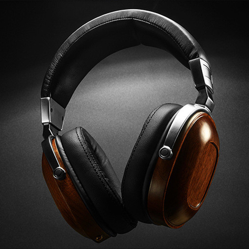 Over-ear Headband Wooden Headphones 3.5mm Headset Heavy Bass Noise Cancelling Head phones for All Mobile Phone