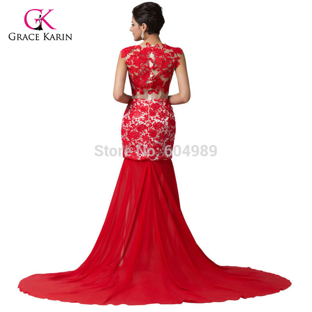 c3e6a37983 US $55.32 |Luxury Sexy Queen Red Lace Applique Formal Evening Dress Split  Floor Length Costume Long Prom pageant dresses for women 6120-in Evening ...