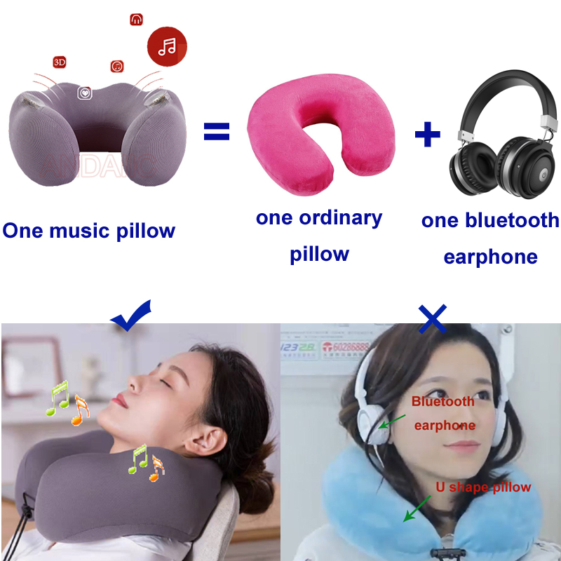 U shape Lunch Break Sleeping Pillow Office use with 3d High quality Music player in Bluetooth Car Kit from Automobiles Motorcycles