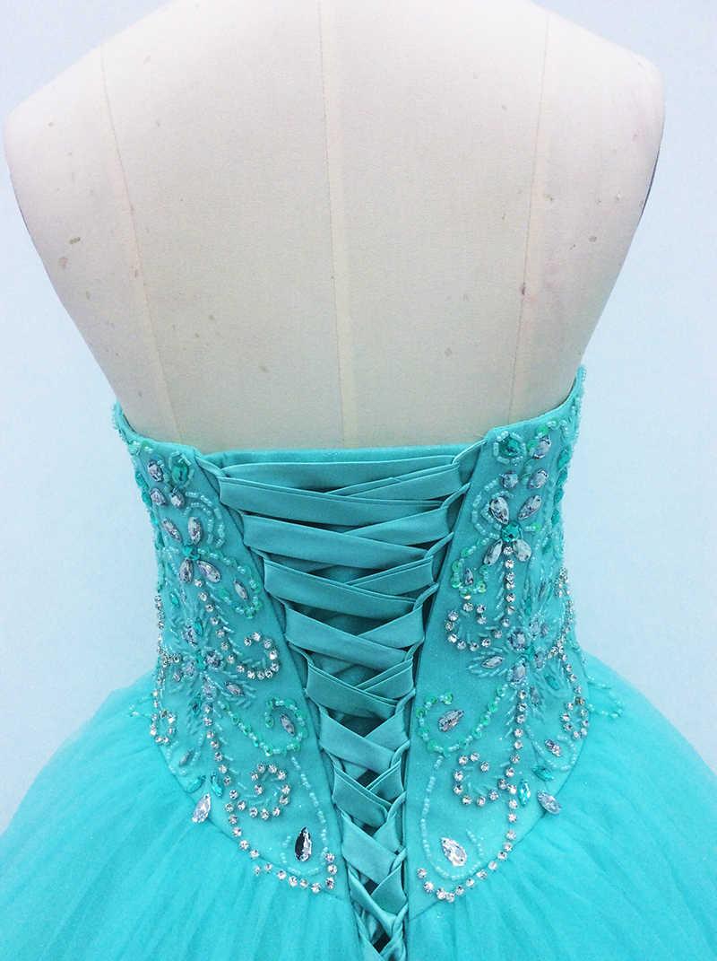 Бальное платье Бальные платья 2018 милое длинное фатиновое платье для выпускного вечера с кристаллами и жемчужинами милые 16 Vestidos De 15 Anos