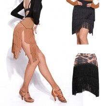 Новейшая популярная юбка для латинских танцев для дам, юбка с кисточками из черной кожи, Женская юбка для бальных танцев, Chacha Tango Samba, конкурентные костюмы I209