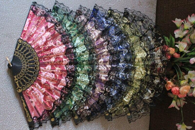무료 배송 120pcs / lot는 꽃 디자인 결혼 레이스 팬, 결혼 손 팬, 결혼 선물 부탁 장미