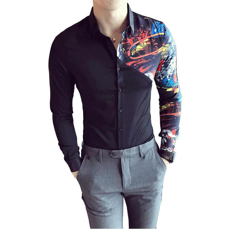 コントラストプリントシャツサメパーティー結婚式社会シャツ用男性白黒シャツ長袖スリムフィットバロックシャツcamicieウォモ