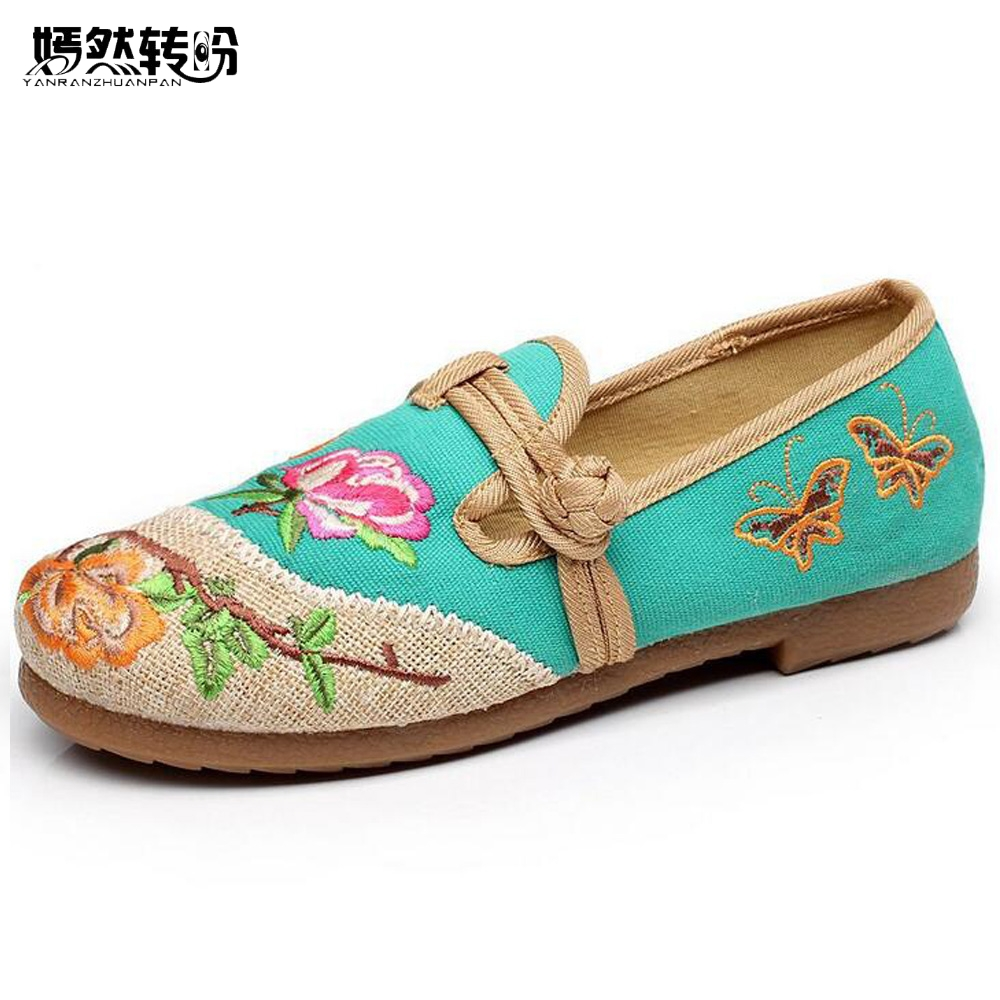 Vintage Women Flats Shoes Ethnic Floral Canvals Linen Embroidered Round Toe National Old Beijing Women Single Dance Flats 35-40 vintage pumps spring autumn old beijing embroidery cloth shoes fairy girl embroidered national han chinese women s shoes