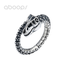 Black 925 Sterling Silver Dinosaur Skeleton Ring for Men Boys Adjustable Size 8-10.5 Free Shipping цена и фото