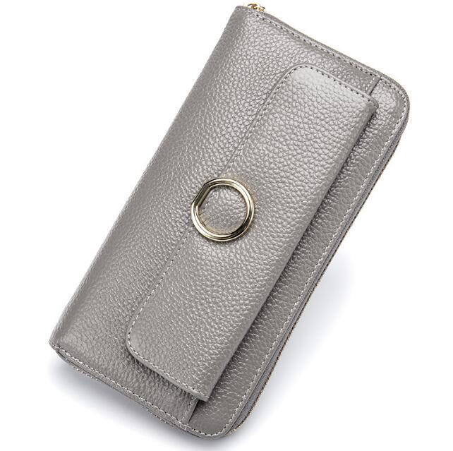 Women'purse 2017 натуральной кожи Дамская кошелек, модная металлическая кнопка леди бумажник, многофункциональный Леди зажим для денег