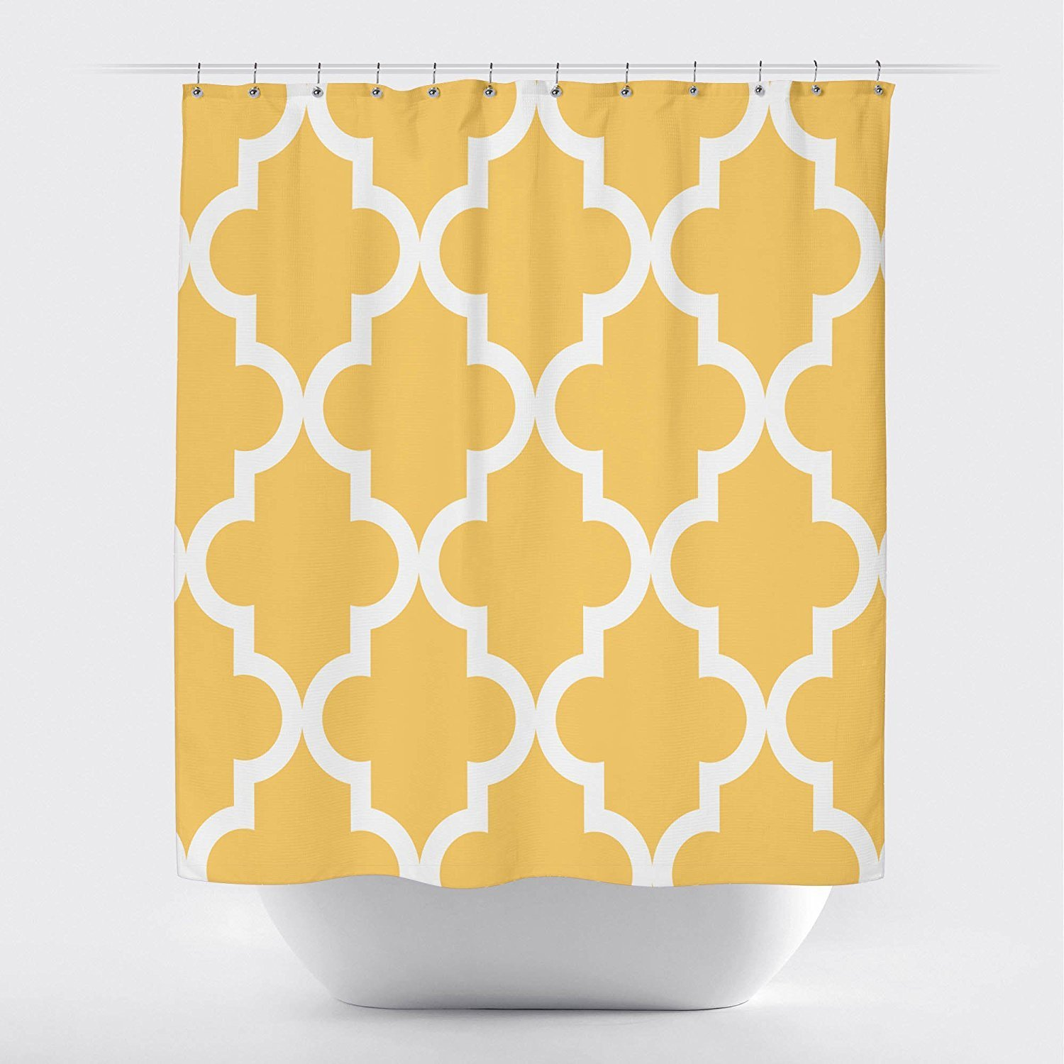 Us 16 01 11 Off Memory Home Scalloped Durable Fabric Shower Curtain Large White On Golden Yellow Bathroom Waterproof Polyester Shower Curtains In
