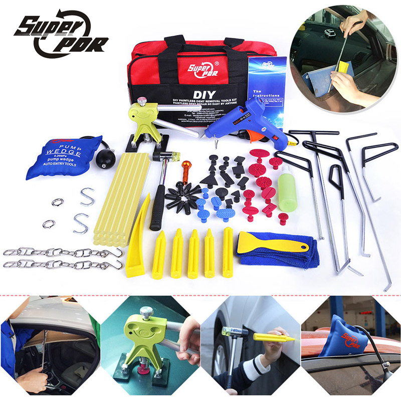 PDR Dent Repair Tools kit Push Rods Hook Tools Paintless Dent Removal tool set dent puller glue gun hammer pump wedge air bag цены