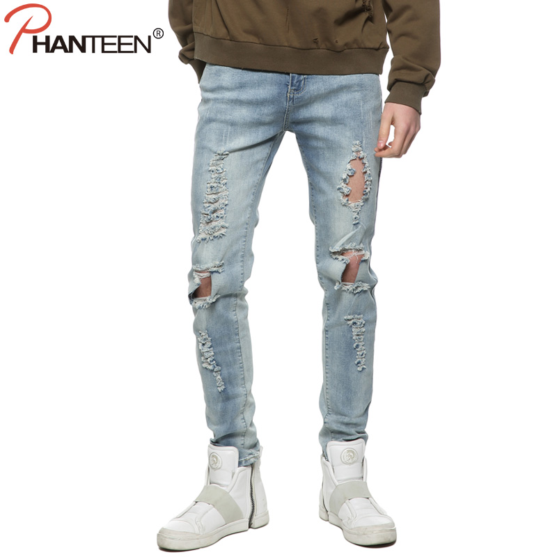 ФОТО Kanye West Justin Bieber Man Jeans Slim Pencil Pants Knee Ripped Hole Destroy Washed Casual Jeans Fashion Men Clothing