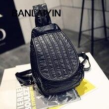 Поп прилива 2 функции женские сумки из стираной кожи рюкзаки леди девушки Crossbody сумки студент сумка мешок школы Черный Mochila