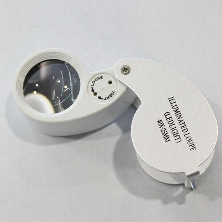 40x25mm de Jóias Portátil do DIODO EMISSOR de Luz 20X Lupa Dobrável Lupa Lupa para Jóias Antiguidades Moedas Selos