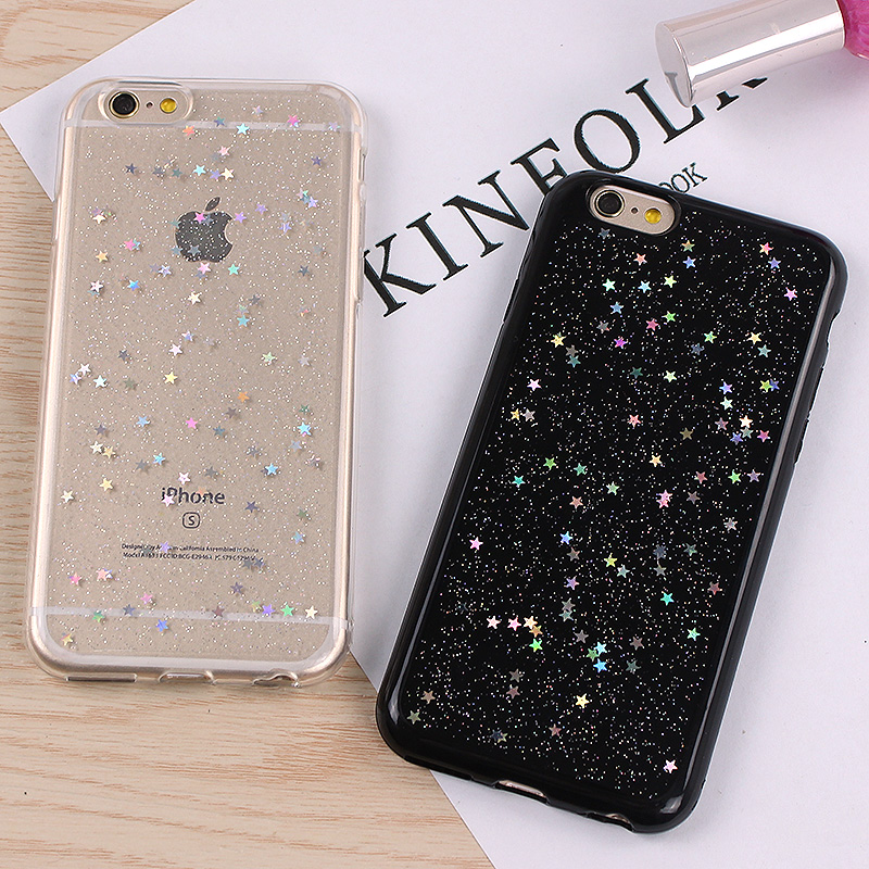 Jamular Bling Star Paillette Sequin Cover For iPhone 7 8 6 6s Plus Funda Soft Coque TPU Silicon Case For iPhone X 6 5s SE Rubber