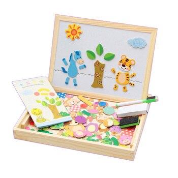 Niños 100Piezas Madera Rompecabezas Con Para Magnético Animales Juguetes De Tablero Juguete Caja 3d Dibujo Educativo AR354jL