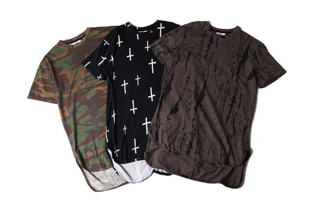 Men summer short sleeve camouflage extended t shirts casual  hip hop t-shirt men's camo streetwear tees camiseta