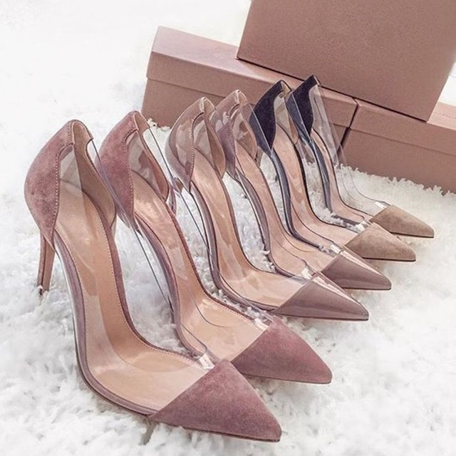 c99ab5abfb White Nude Gold Red Patent Leather Pumps Plexiglass Clear PVC High Heels  Women Shoes Pointed Toe Stiletto-Heeled Party Shoes