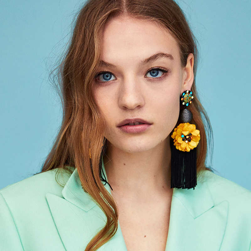 FASHIONSNOOPS Bohemian Big Hoa Tua Statement Earrings Đối Với Phụ Nữ Thời Trang Mới Bijoux Tua Drop Dangle Earrings Dài Earrings Charm